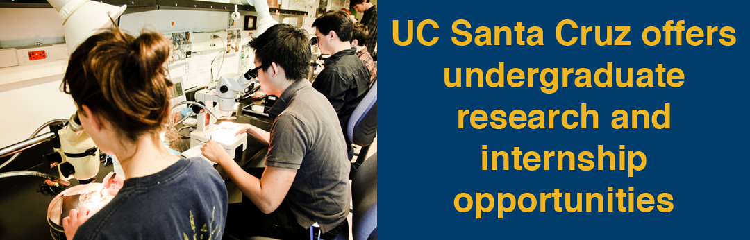 "Students conducting scientific research. Tagline says, ""uc santa cruz offers undergraduate research and internship opportunities""."